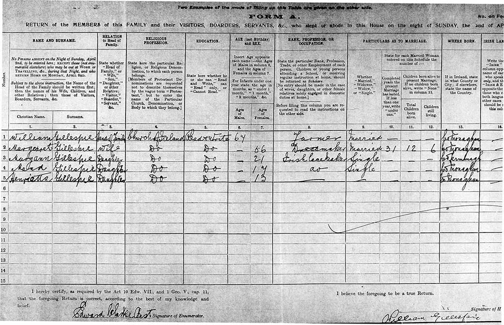 1911 census return